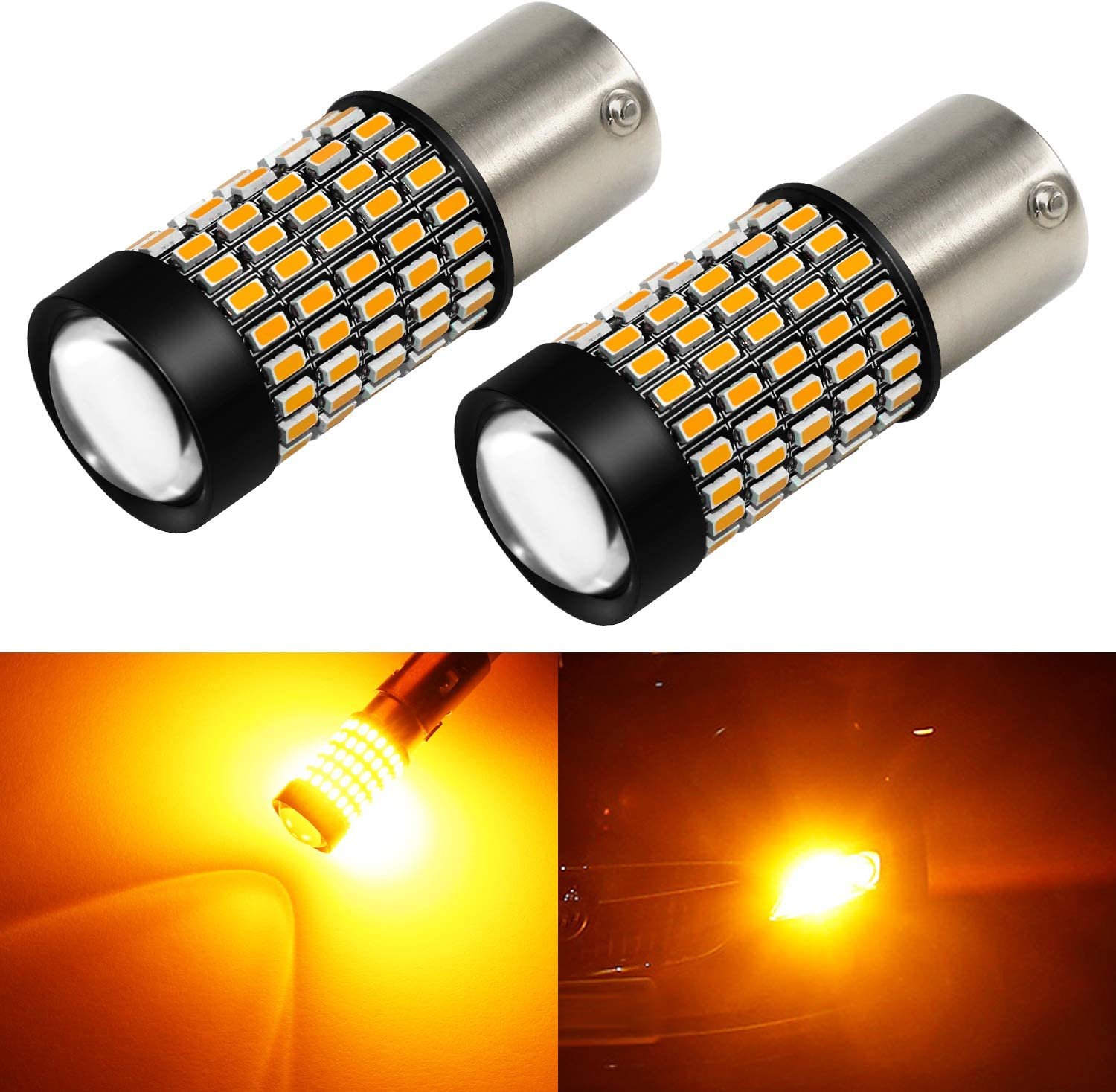 Amber Yellow Phinlion 1156 LED Turn Signal Light Bulbs Super Bright 3014 103-SMD BA15S P21W 1156 7506 LED Bulb with Projector for Turn Signal Blinker Lights