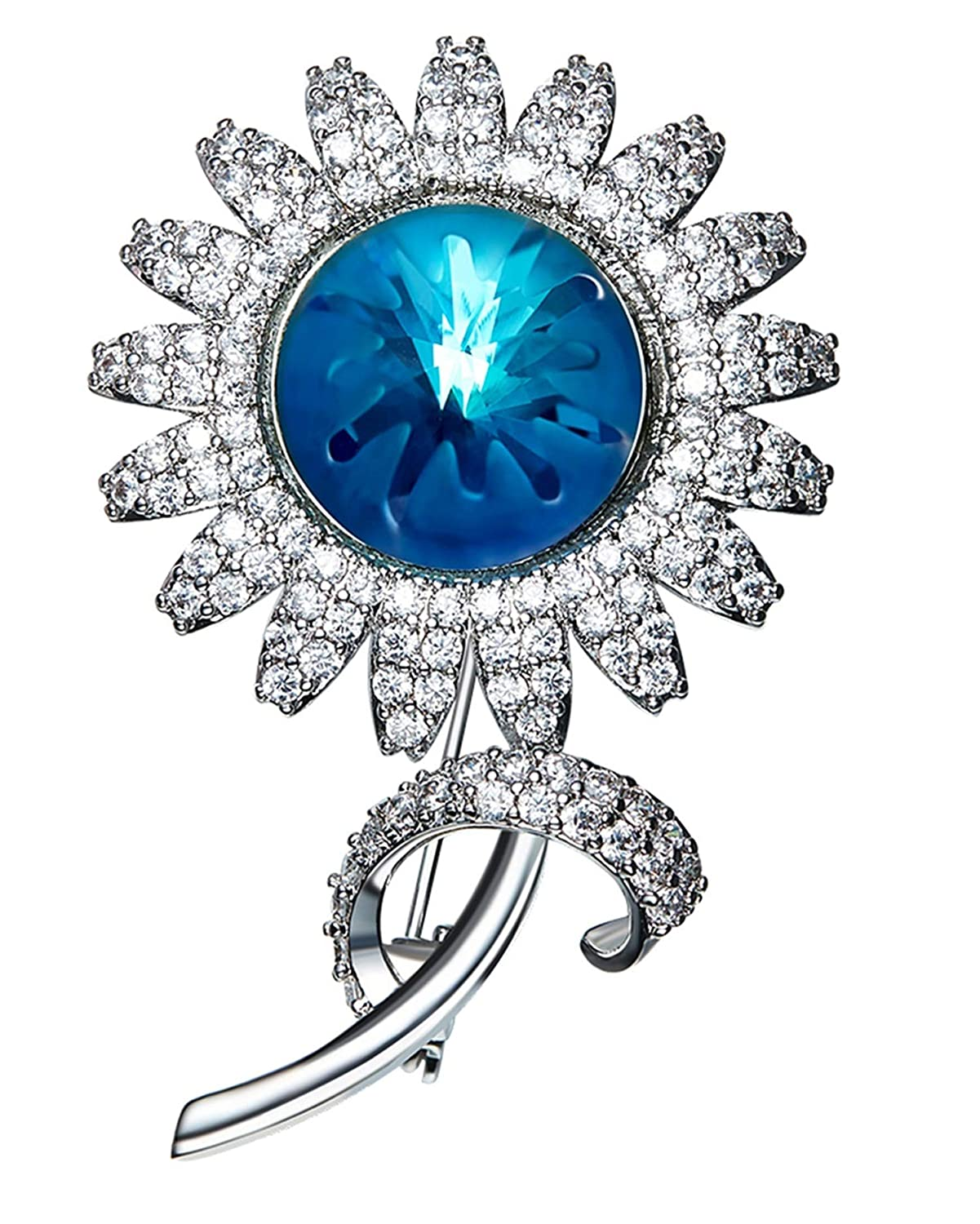 Gnzoe Women Ladies Alloy Brooch Pin Sunflower Brooches Blue