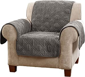 SureFit Microfiber Chair Pet Throw/Slipcover with Arms, Dark Gray