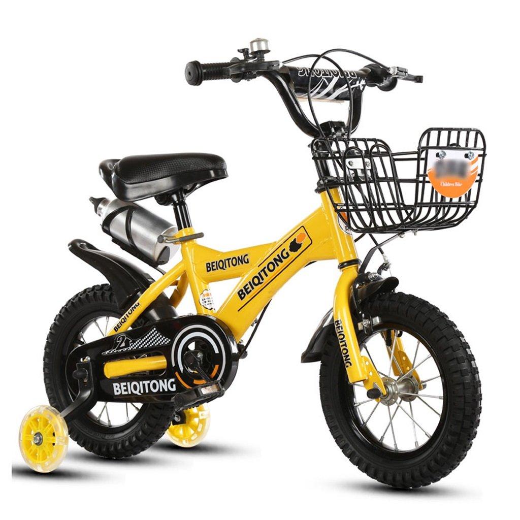 子供の自転車12 14 16 18 20インチ屋外の子供ベイビーキッドマウンテンバイクフラッシュトレーニングホイールで2歳から11歳の男の子の女の子の贈り物 アイアンバスケット 水ボトルセーフイエロー B078JGK4VF 14 inches
