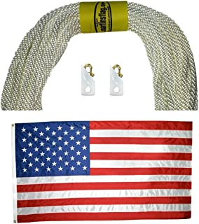 "product image for Flagpole Replenishment kit inludes: 5/16"" Rope in Various Lengths, Noise Cancelling Brass Flag Clips and Reinforced Nylon American Flag in Various Sizes (80, 6'x10')"