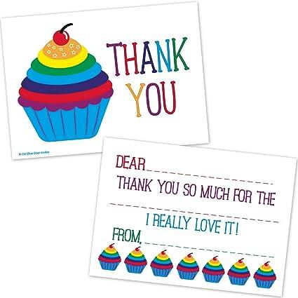 Amazon Com Rainbow Cupcake Kids Fill In Thank You Cards Birthday