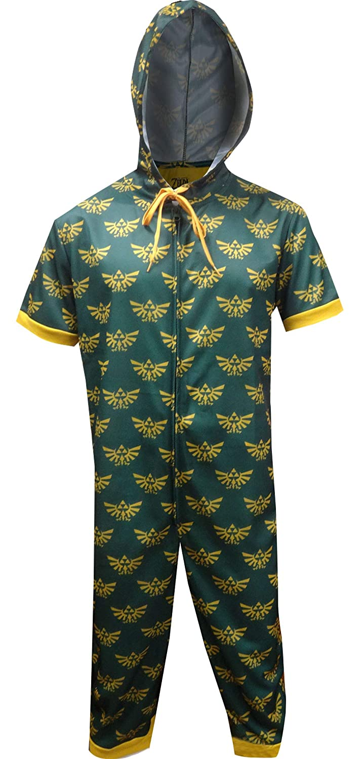 Amazon.com  Nintendo Men s Zelda Hylean Shield Cropped Leg One Piece Pajama  Green  Clothing 75e9489c7