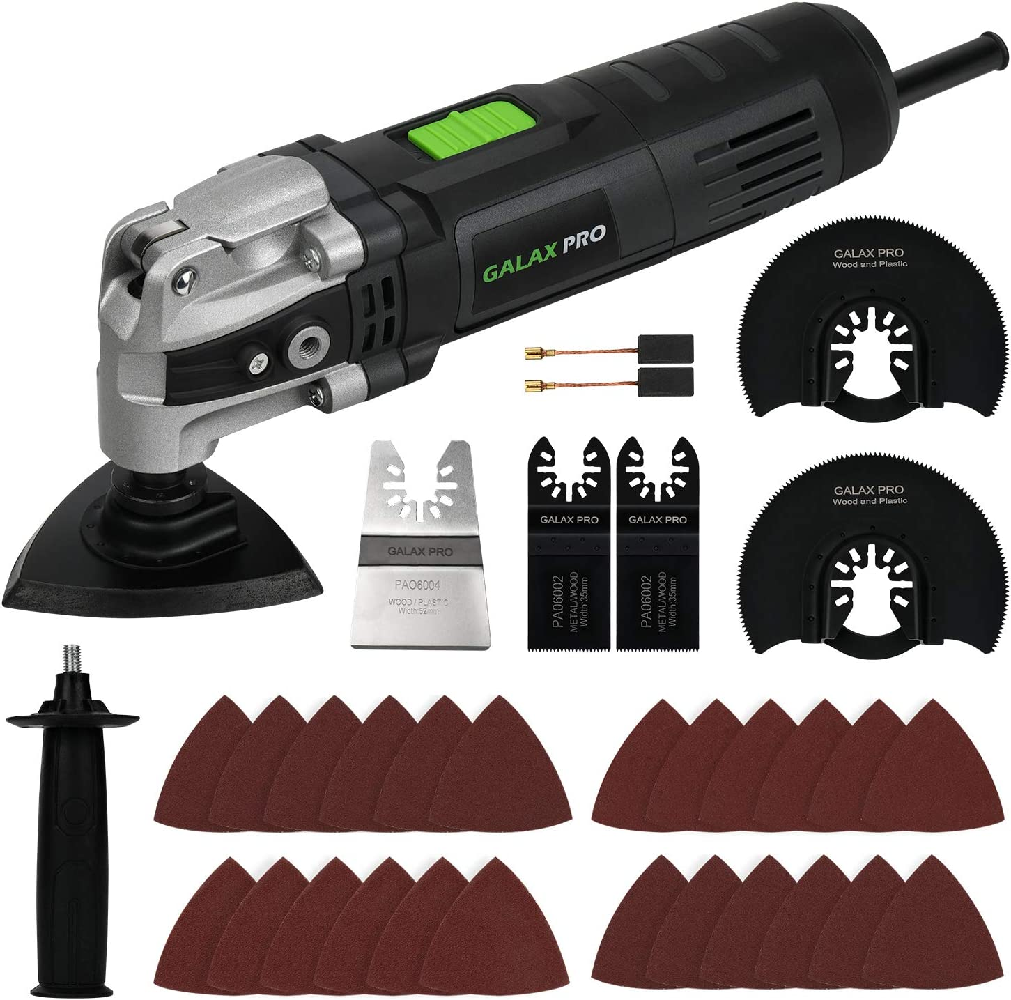 Oscillating Saw, GALAX PRO 3.5A 6 Variable Speed Oscillating Multi Function Power Tool Kit with Quick Clamp System Change and 30pcs Accessories, Oscillating Angle:4° for Cutting, Sanding, Grinding