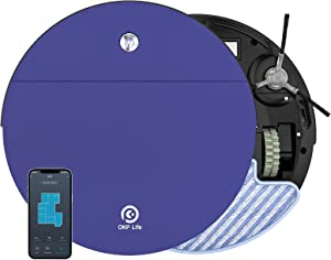 OKP Robot Vacuum and Mop, 2 in 1 Ultra-Thin Robotic Vacuum with 2000pa Strong Suction,WiFi-Connected and Self-Charging for Pet Hair Carpet and Hardfloor