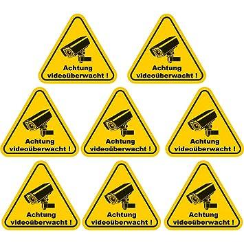 8 Stück Aufkleberachtung Videoüberwacht 100x90 Mm Gelb Selbstklebend Kratz Und Wetterfest