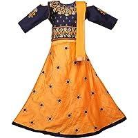 Ashwini Girl Polyester Embroidery Salwar Suit with Bottom Skirt