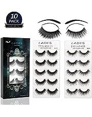 87ea9c07de7 False Eyelashes - 10 Pair Multipack Natural 3D False Eyelashes Natural Look  For Makeup Eyelashes Extension
