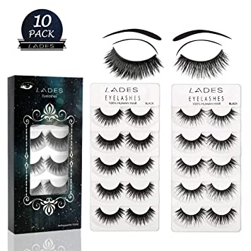 a36f9d7a3f9 False Eyelashes - 10 Pair Multipack Natural 3D False Eyelashes Natural Look  For Makeup Eyelashes Extension: Amazon.co.uk: Beauty