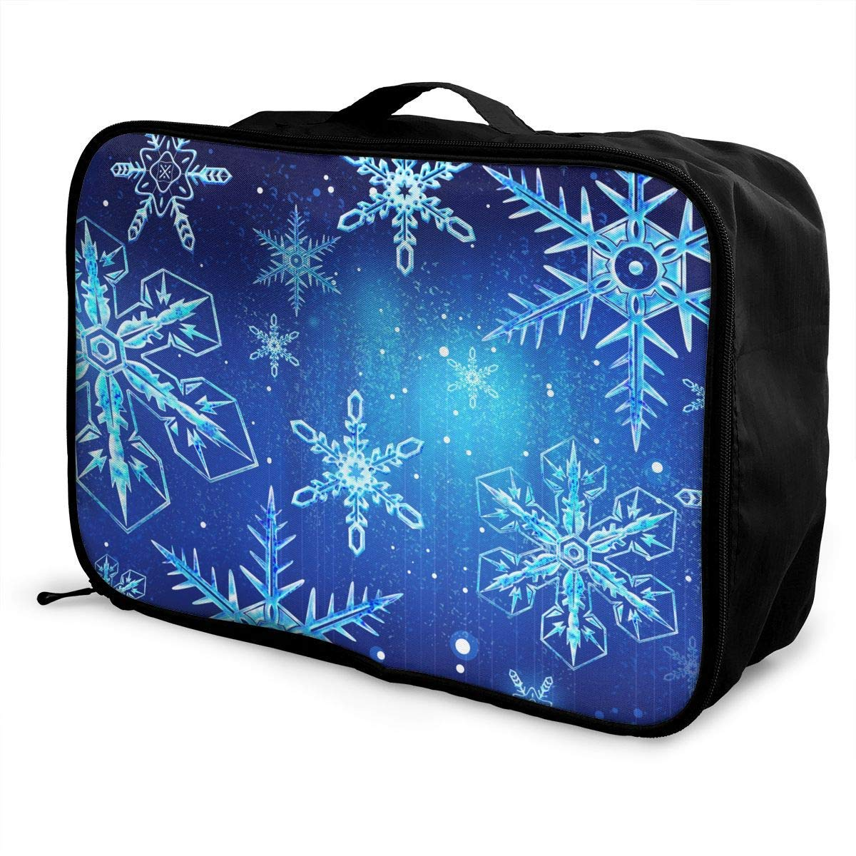 Travel Lightweight Waterproof Foldable Storage Carry Luggage Duffle Tote Bag JTRVW Luggage Bags for Travel Christmas Snowflake Blue