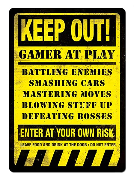 Amazon Keep Out Gamer At Play Yellow Metal Wall Sign Plaque Unique Keep Out Signs For Bedroom Doors