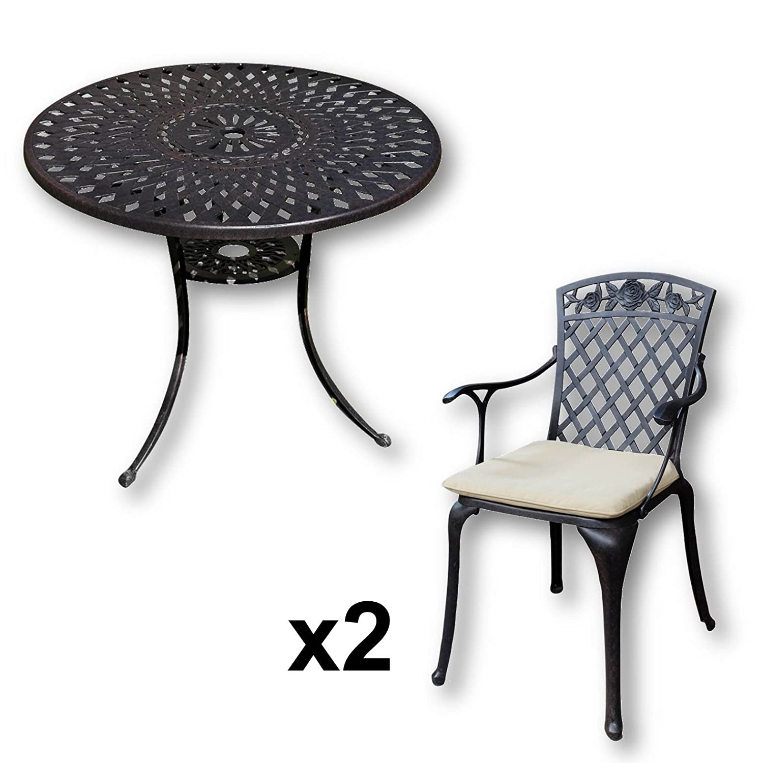 lazy susan mia 90 cm runder gartentisch mit 2 st hlen gartenm bel set aus metall antik. Black Bedroom Furniture Sets. Home Design Ideas