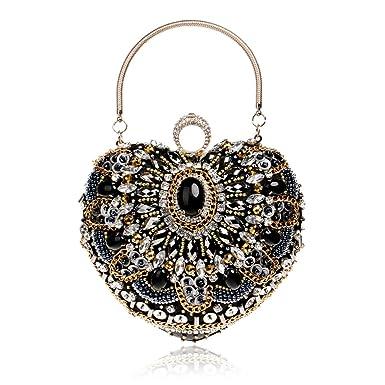 f09c4cc260 Sac de soirée en forme de coeur embrayage perlé, brillant cristal strass sac  à main de mariage sac à main avec chaîne amovible: Amazon.fr: Vêtements et  ...