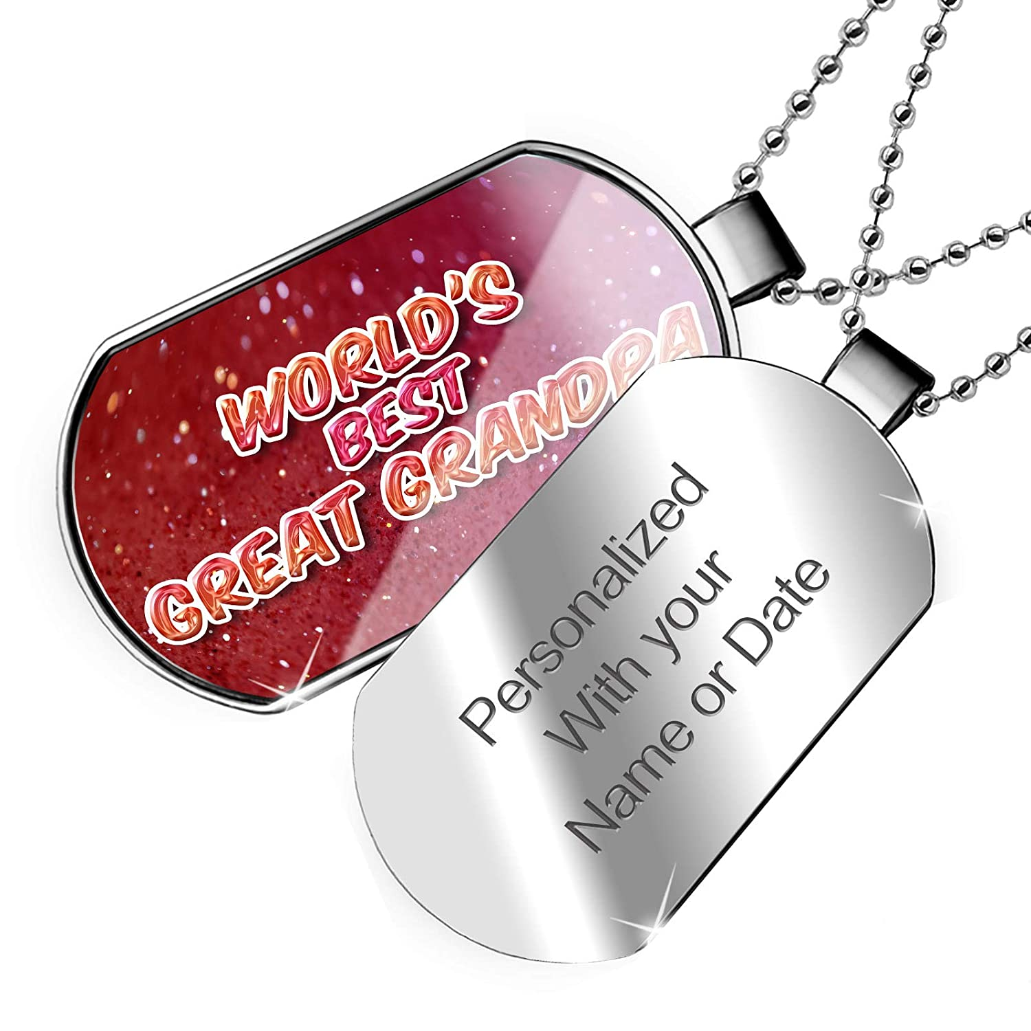 NEONBLOND Personalized Name Engraved Worlds Best Great Grandpa Happy sparkels Dogtag Necklace