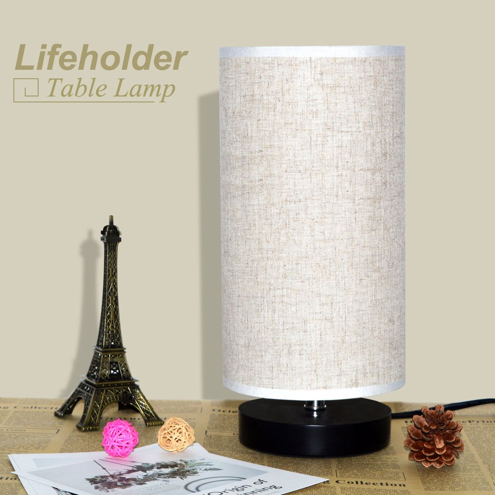 Lifeholder Table Lamp, Bedside Nightstand Lamp, Simple Desk Lamp, Fabric Wooden Table Lamp for Bedroom Living Room Office Study, Cylinder Black Base by lifeholder (Image #8)