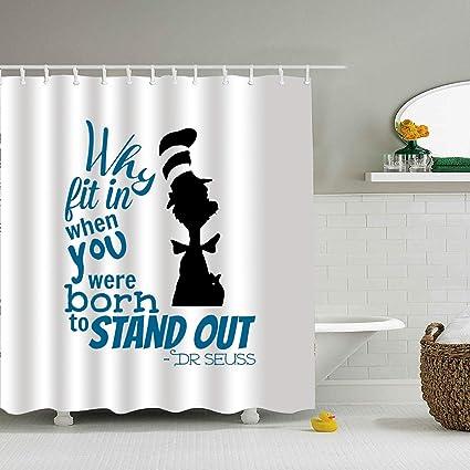 Amazon SHRGRGR Fabric Shower Curtain Polyester Dr Seuss Quotes