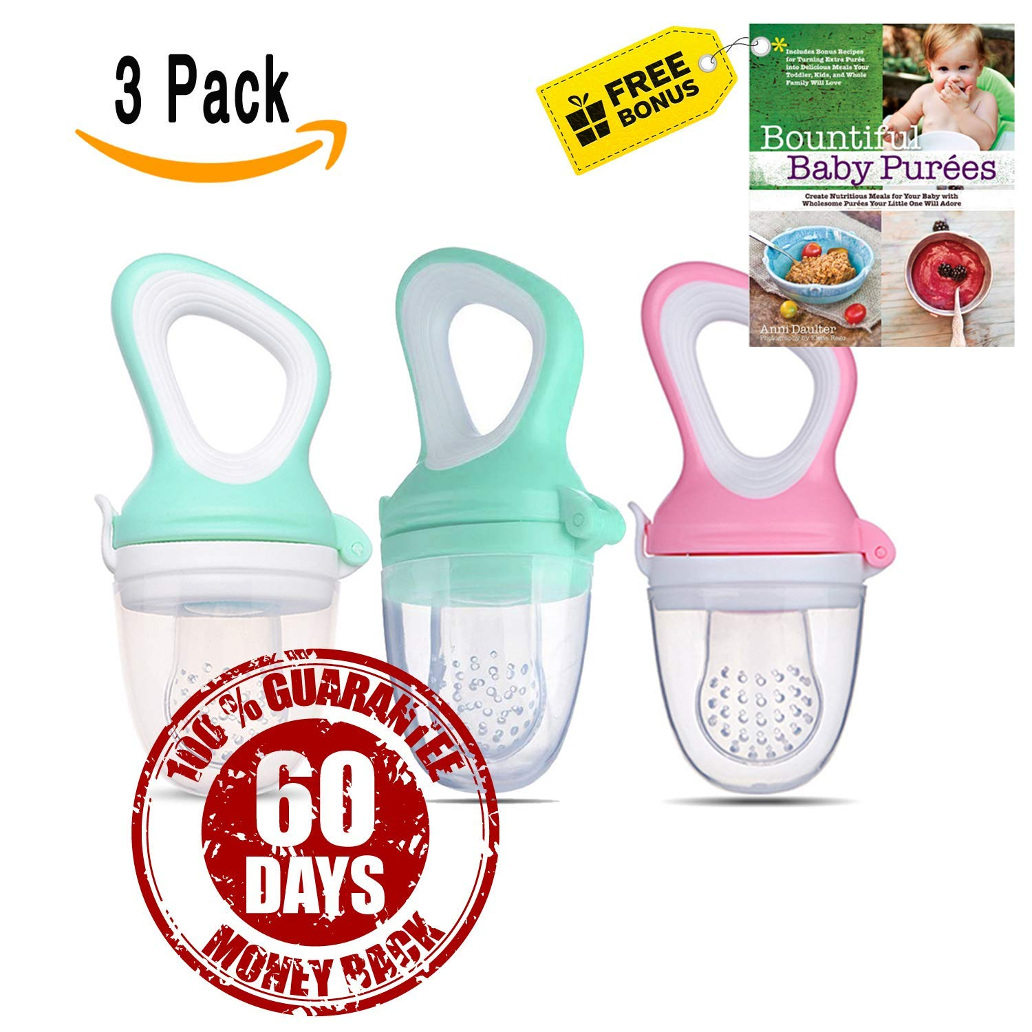[Free Bonus eBook]-Fresh Food & Fruit Feeding Pacifier – 3 Different Sized Silicone Teething Pacifiers | Great Baby Nibbler Food Feeder Teether | Baby Feeding Teething Toys Set | Colors: Pink & Blue