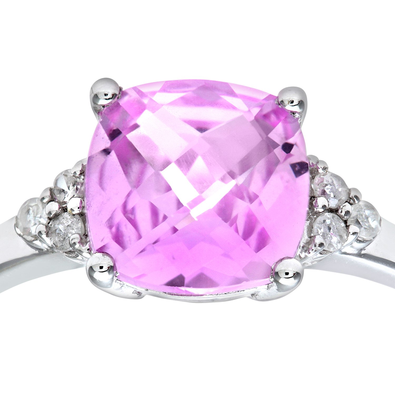 Naava Women S 9 Ct White Gold Cushion Cut Created Pink Sapphire And Diamond Ring