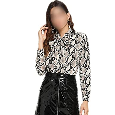 Snake Print Knot Neck Casual Blouse Shirt Winter Womens Tops Office Ladies  Tie Neck Blouses f048734ef8