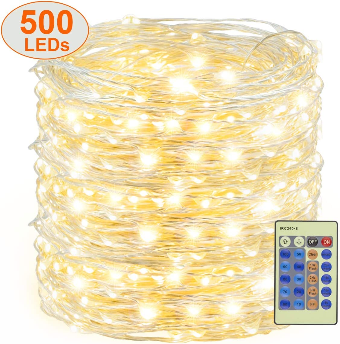 Decute 500 LED Fairy Lights Warm White 164ft Silver Wire String Lights w/Remote, LED Firefly Lights Starry Light for DIY Christmas Tree Costume Wedding Party Table Centerpiece Decor