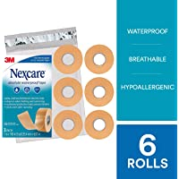 Nexcare Absolute Waterproof First Aid Tape SIOC, From the #1 Leader in U.S. Hospital Tapes, stays on during sports, Cushioned Protection, 1-Inch x 5-Yard Roll (Pack of 6)