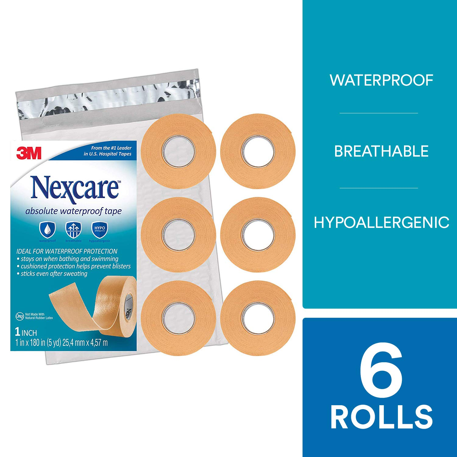 Nexcare Absolute Waterproof First Aid Tape SIOC, Made by 3M, 1-Inch x 5-Yard Roll (Pack of 6)