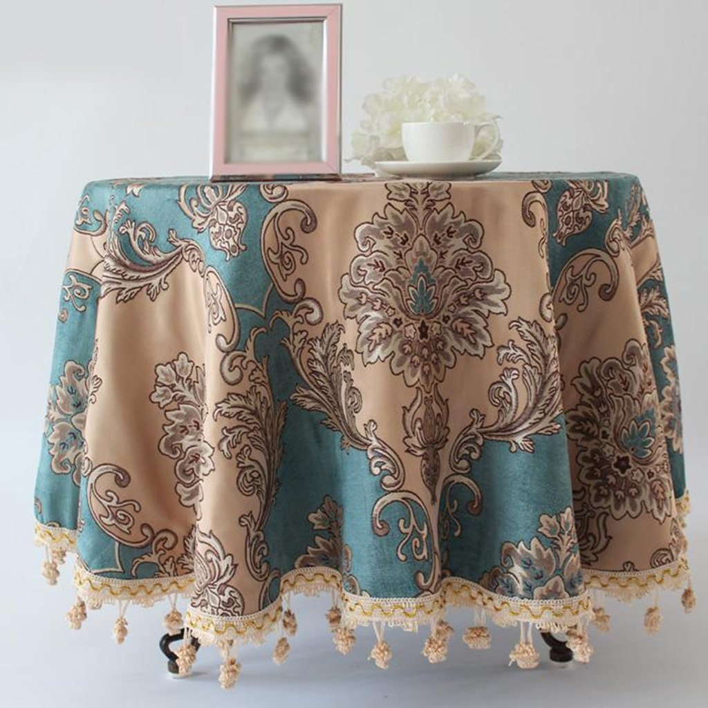 Blau D240 cm L&Y Tableware Europäischen Stil High Grade Pastoralen Stil Runde Tischdecke Mode Druck Home Pastoralen Tischdecken Couchtisch Tuch (Farbe   Blau, größe   D240 cm)