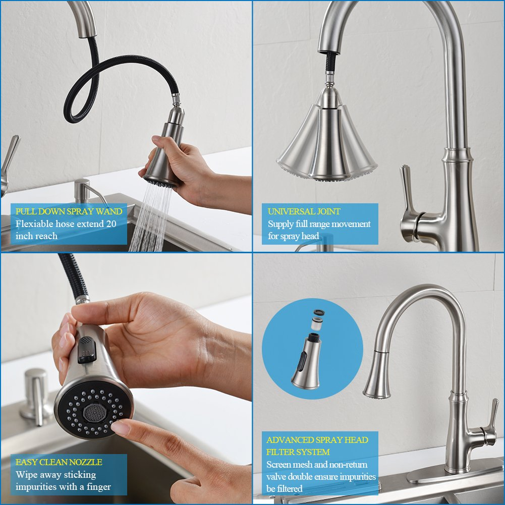 Kitchen Faucet Pull Down Sprayer - WEWE A1008L Stainless Steel Sink ...