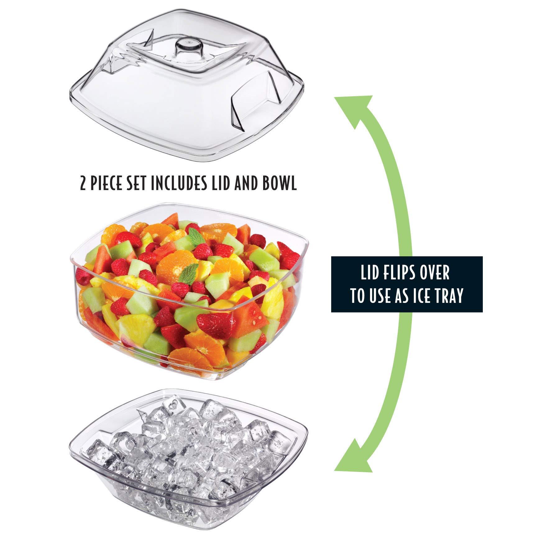 Prodyne SB-10 Flip Salad On Ice Bowl with Lid Set, 10'', Clear by Prodyne