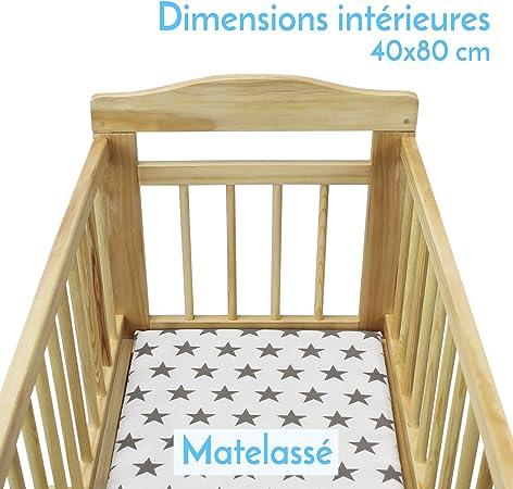 Monsieur Bébé ® Cuna 40 x 80 cm + Conjunto de cuna y ropa de cama- Mode balancín o ruedas - Dos colores - Norma NF EN1130-1 et 2: Amazon.es: Bebé
