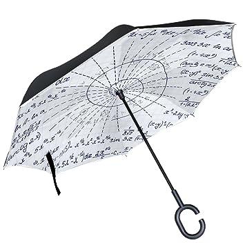 ALAZA matemáticas patrón geométrico en espiral paraguas invertido doble capa resistente al viento Reverse paraguas