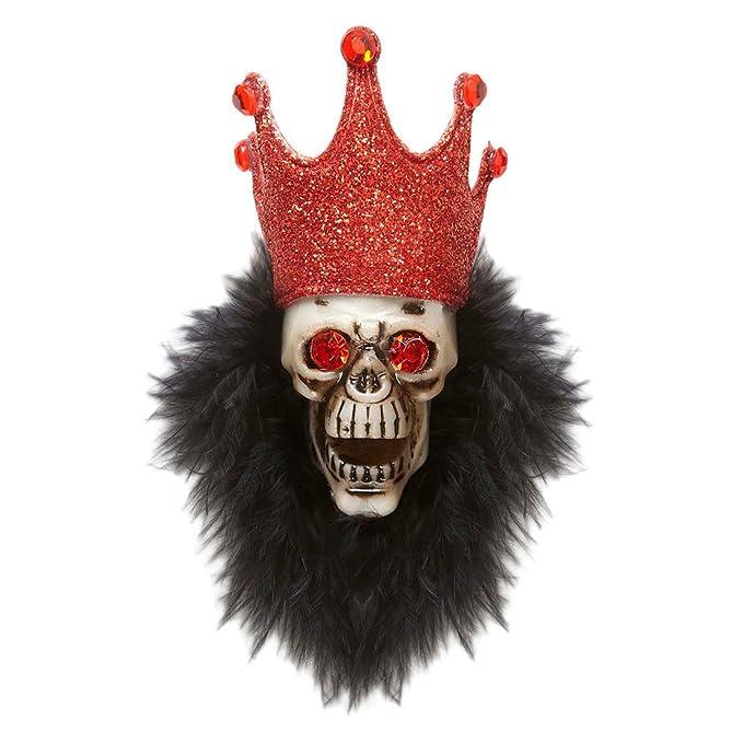 Voodoo Brosche Totenkopf Ansteck Pin Totenschädel Badge Hexen Silberschmuck