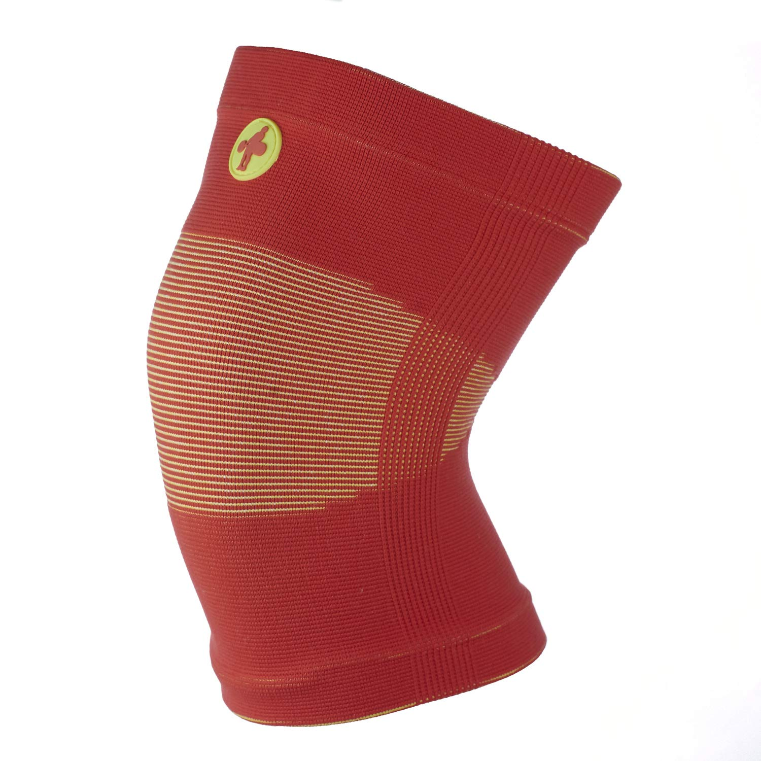 Knee Sleeves for Weightlifting, Crossfit, Chinese Style (Red and Yellow, Large)
