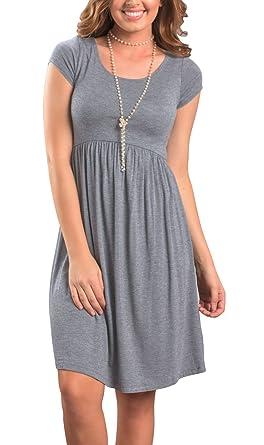 8eb9dc993d8 Twippo Women Dress Summer Casual Knee Length High Waist Dresses at ...