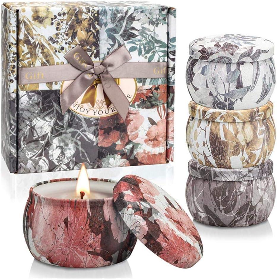 cadeaux pour la f/ête des m/ères et la Saint-Valentin bain coffret cadeau bougie parfum/ée cadeaux de No/ël mariage 4 Bougie en cire de soja 100/% naturelle D/écompression TWBEST Bougie parfum/ée yoga