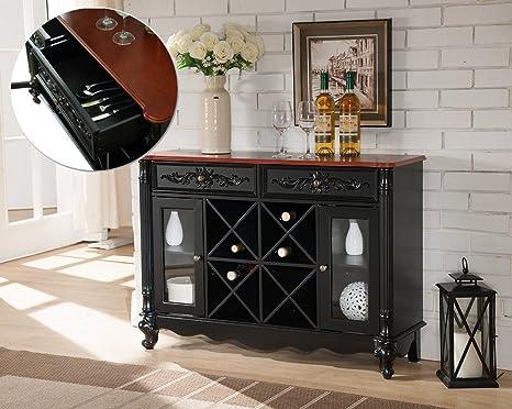Credenza Con Portabottiglie : Nero e portabottiglie in legno di noce credenza buffet display vetro
