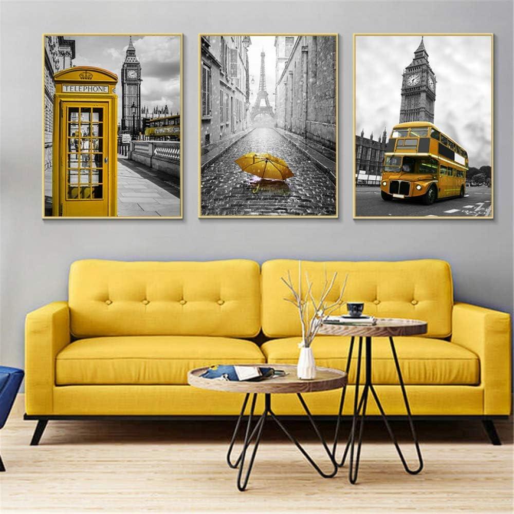 Fvfbd Carteles y Grabados nórdicos Cabina telefónica Amarilla Autobús Negro Blanco Arte de la Pared Pares de Londres Cuadros de Pared para Sala de Estar sin Marco de 50cmx70cmx3
