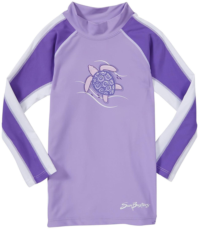 Sun Busters Girls Long Sleeve UV Rash Swim Shirt - UPF50+ Sun Protection - Ages 2-12 Years (Raspberry/Strawberry & Grape/Blackberry)