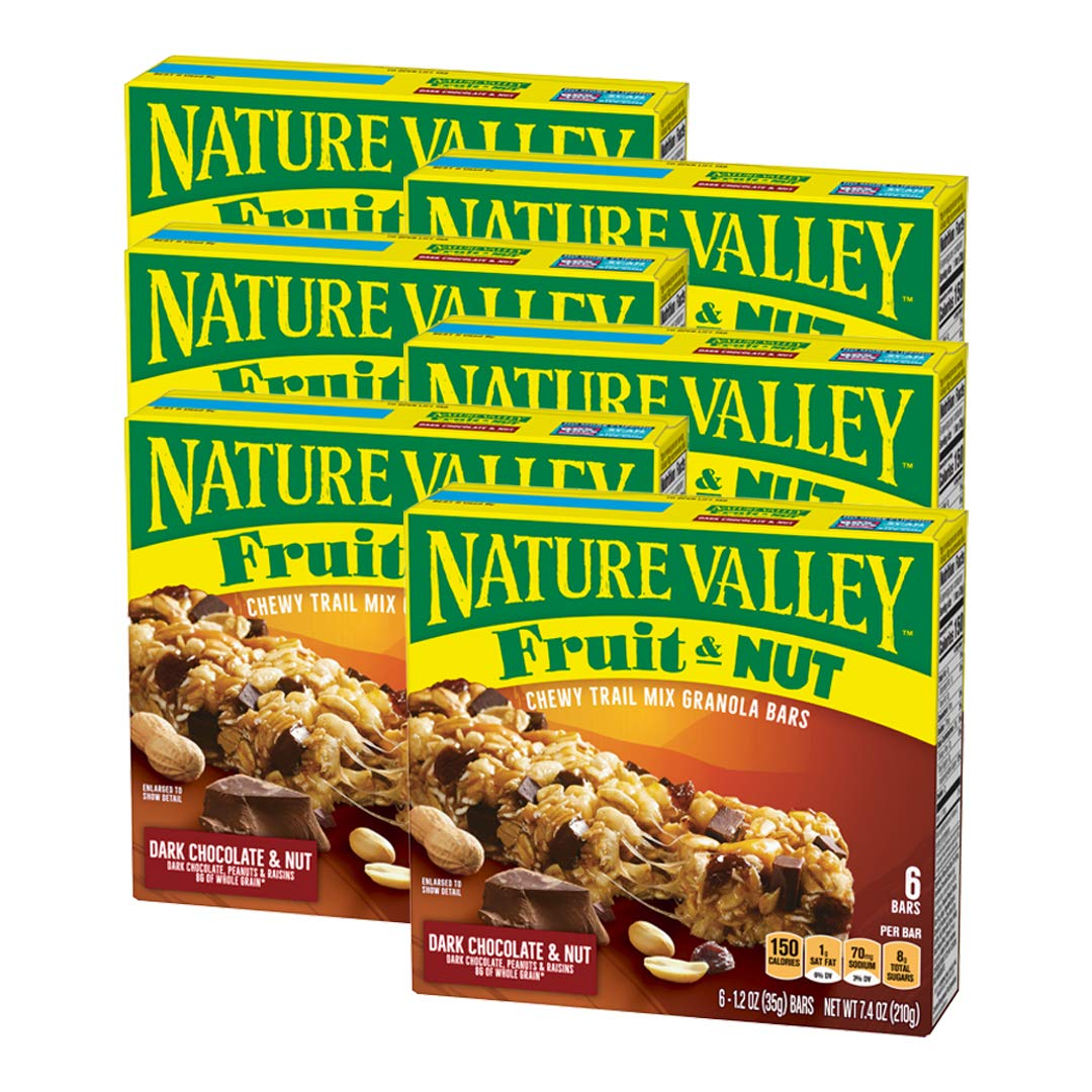 Nature Valley Dark Chocolate and Nut Trail Mix Chewy Granola Bars, 6 Count (Pack of 6)