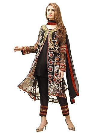Buy Rosaniya Semi-stitched Georget Embroided Pakistani Designer ...