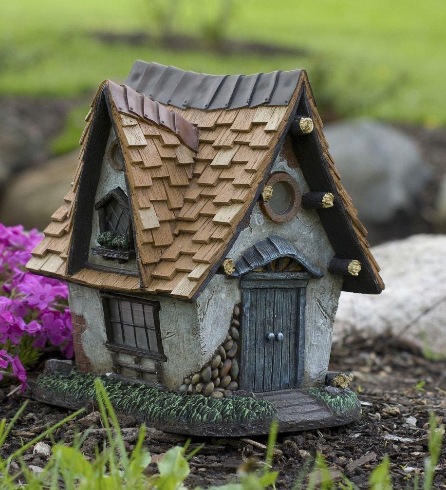 Lunarland Miniature Dollhouse FAIRY GARDEN Cottage Crooked Creations Solar Home