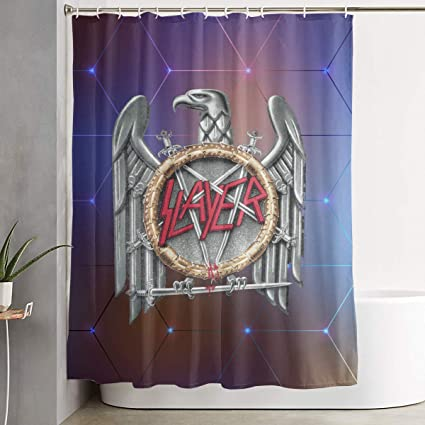 Alberto J Campbell Slayer Band Shower Curtain With Hooks Treated To Resist Deterioration By Mildew