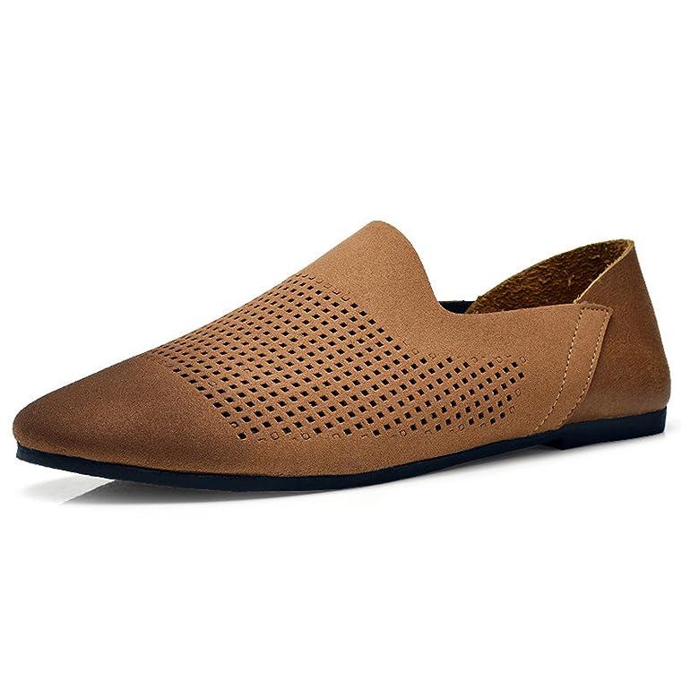 Fashion Design Slip On Men Causal Shoe Summer New Punching Breathable Men Loafers Handmade Leather Men Shoes Flat Sheos Men