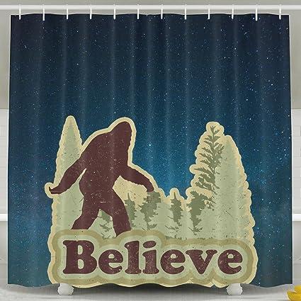 Amazon Believe Bigfoot Shower Curtain Fabric Bathroom
