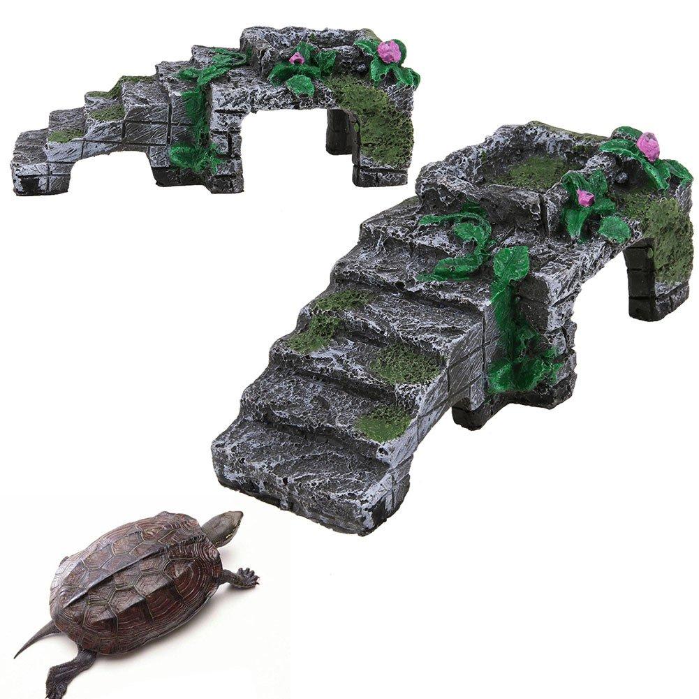 Medium Basking Ramp Reptile Cave Shelter Basking Platform Hideouts, Decor Polyresin Cave, Turtle-pier,M
