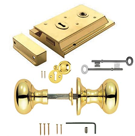 Polished Brass Rim Lock Door Rim Knob Locking Handle Set: Amazon.co ...