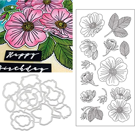 Flower Clear Stamps and Blossom Metal Cutting Dies for Scrapbooking Album Card