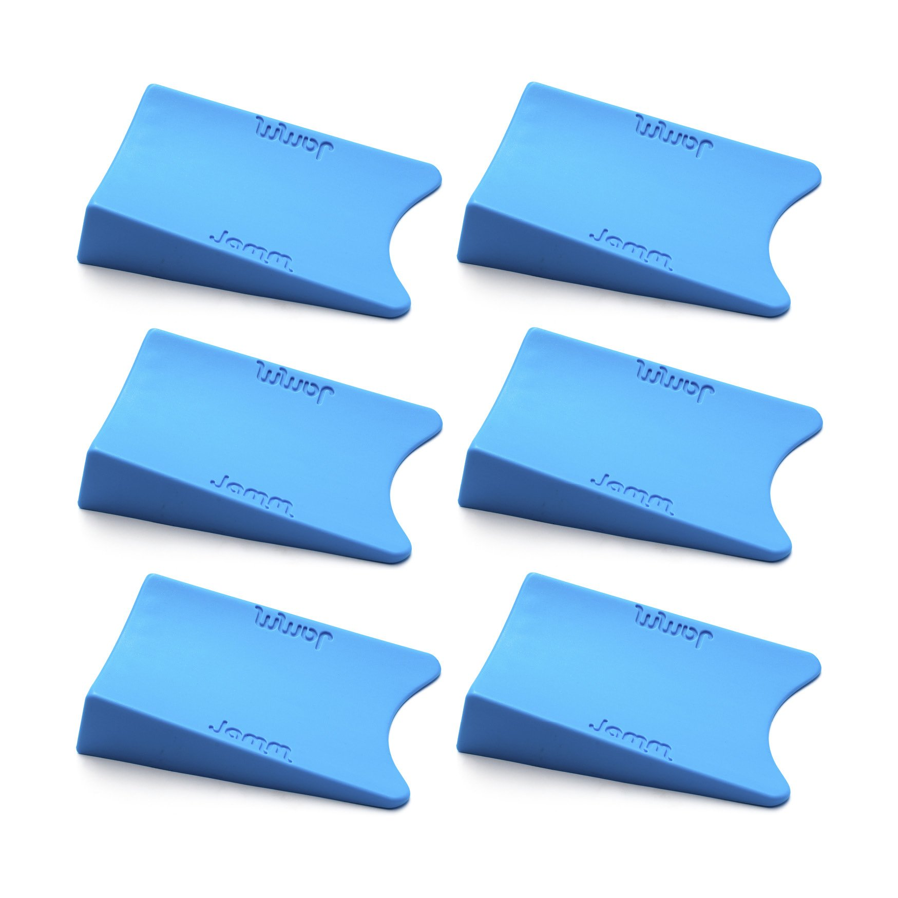 Top Rated Jamm Door Stopper. Patented Door Stop Design Holds Doors in BOTH Directions. Outperforms other Door Stops and Decorative Door Wedges. Premium Non Rubber Hardware Size 1(6 pack, Pacific Blue)