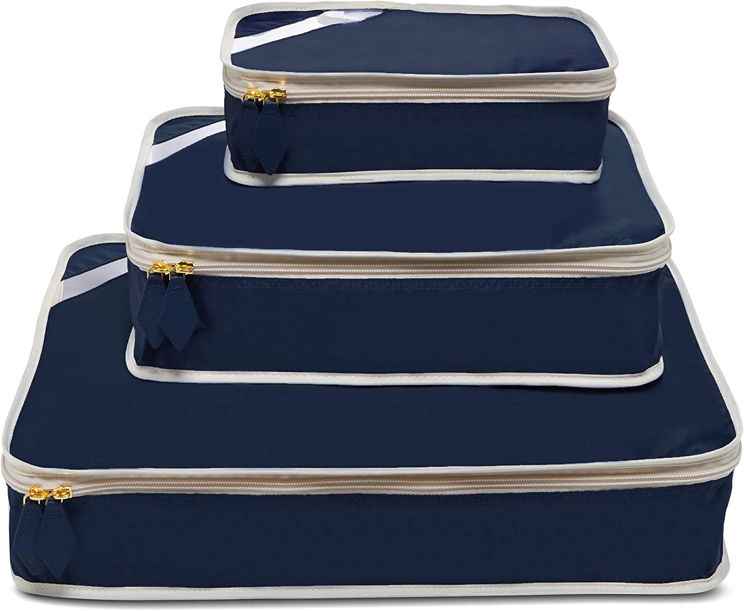 Paravel Travel Packing Cubes | Set of 3 | Scuba Navy | Luggage Bag Organizers for Travel Accessories, Shoes, Toiletries, Laundry, Compression Storage Cubes | Various Sizes