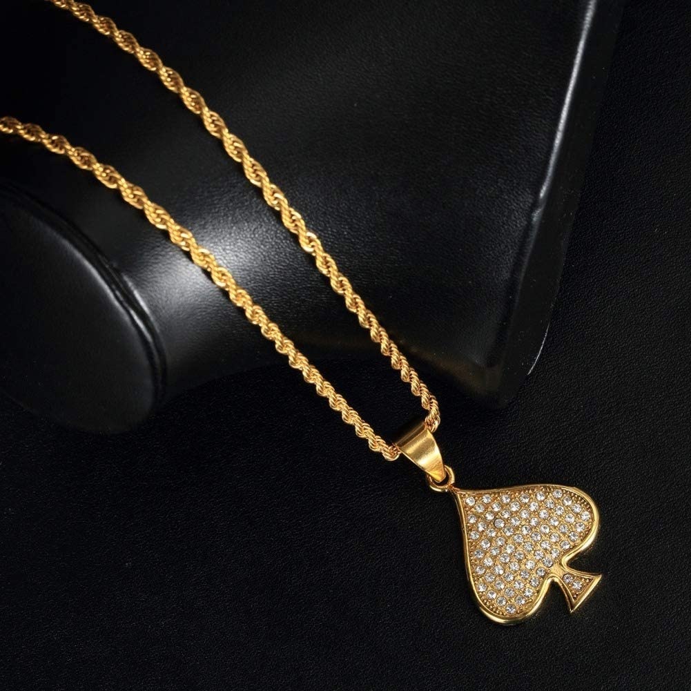 Wyanger Fashion Poker Pattern Pendant Vintage Hip Hop Punk Necklace